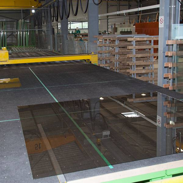 glazing service factory line large glass panel in production