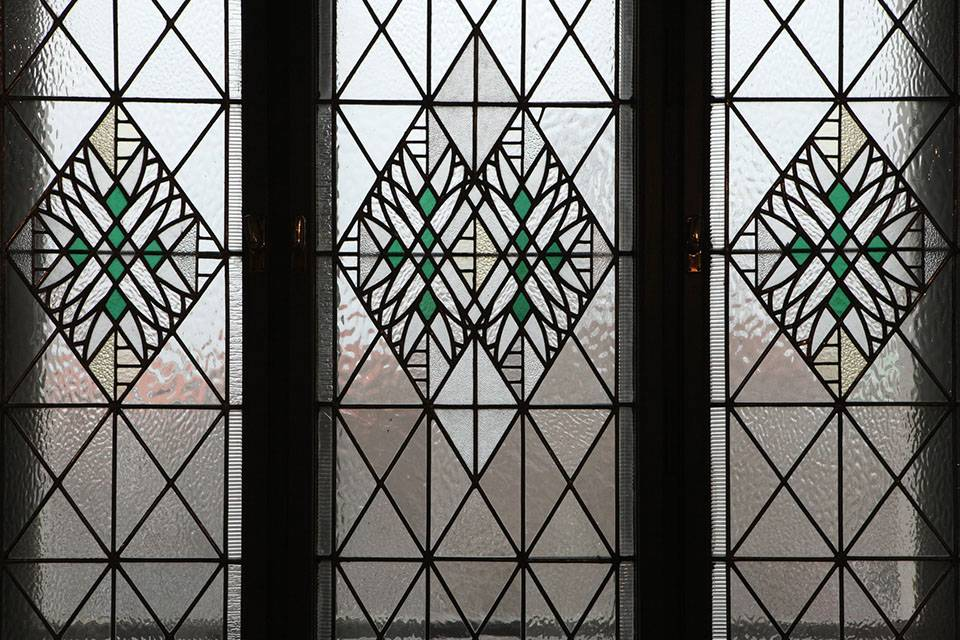stylish domestic green stained glass windows